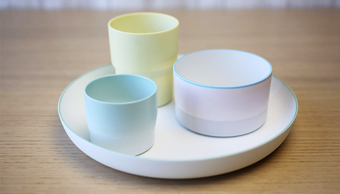 various colors and types of tableware