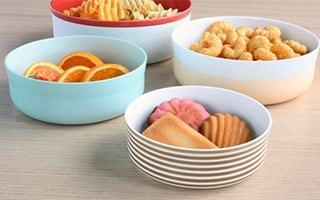 Colorful pale color plates and bowls from Arita porcelain