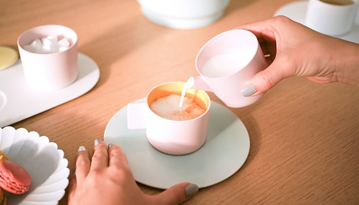 pouring milk with Arita porcelain creamer