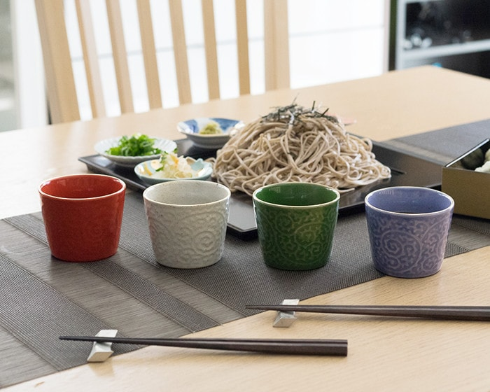 4 different colors of Arita soba cups ERI