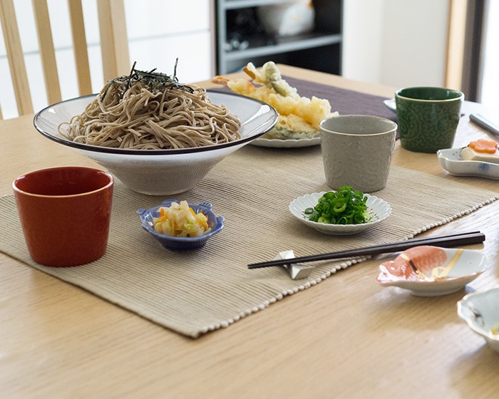 Soba party with colorful soba cups of ERI series