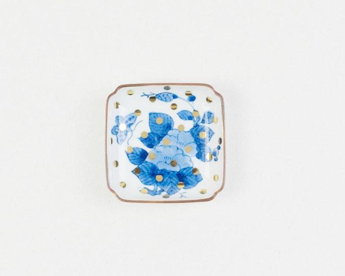 amabroの豆皿MAME牡丹蝶文角皿