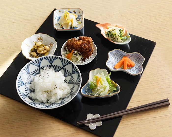 Japanese traditional meal style with small plates of MAME