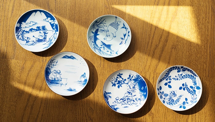 5 plates of SOMETSUKE series from Moomin × amabro