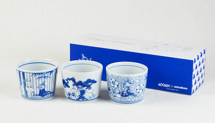 3 cups set of Moomin Sometsuke and its exclusive box
