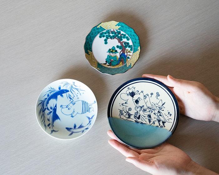 Size comparison of Kutani ware, Arita ware and Mashiko ware of Moomin series