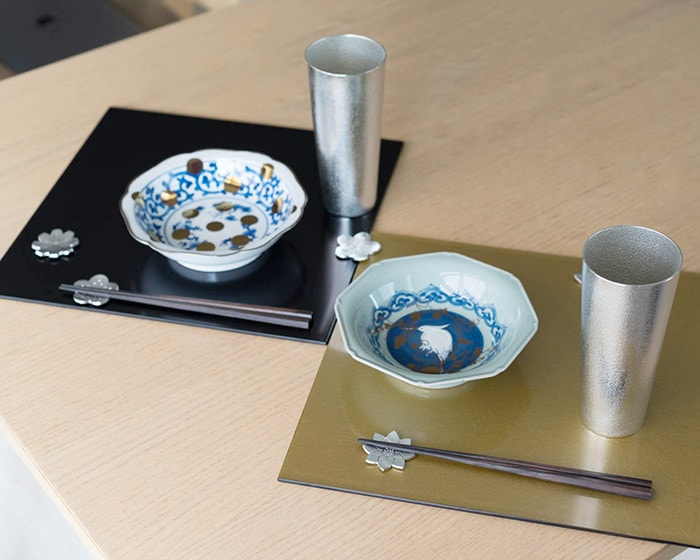 Japanese classical table setting with NAMASU plate and tin beer cup