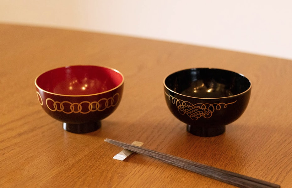 Authentic Japanese lacquerware bowls WAN from amabro