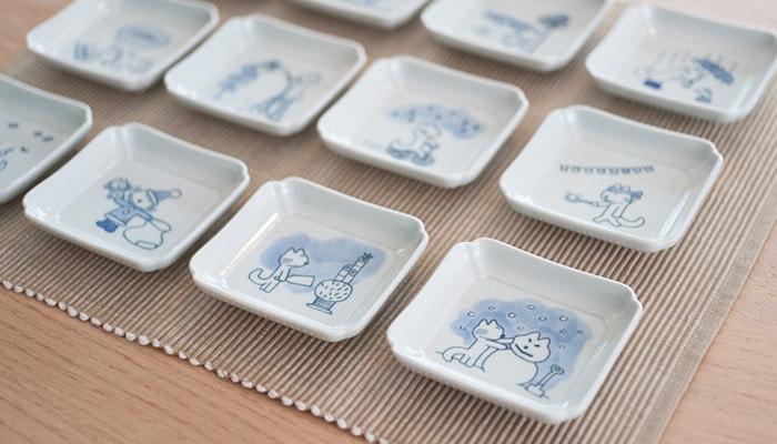 11ぴきのねこの豆皿を並べた様子