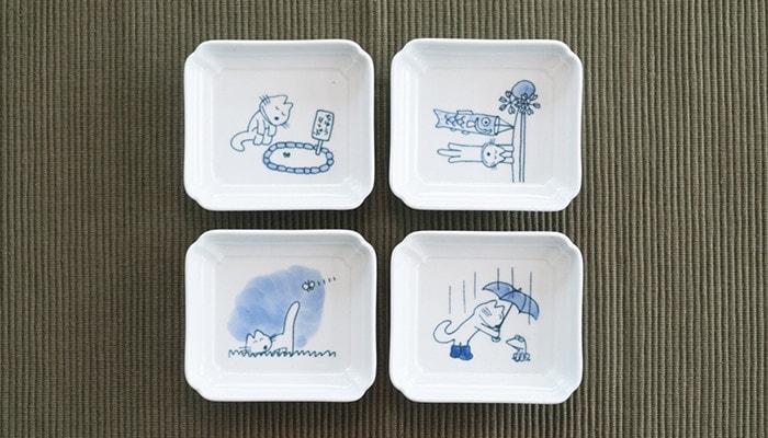 11ぴきのねこグッズ・ねこの豆皿「花」セットの4枚