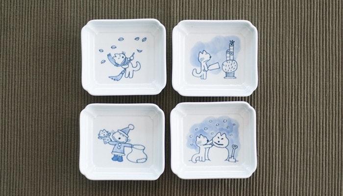 11ぴきのねこグッズ・ねこの豆皿「雪」セットの4枚