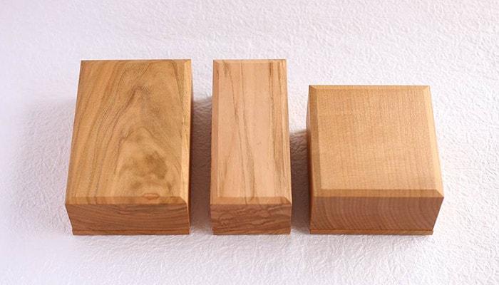 3種類のサイズのバターケースが横に並んだ様子