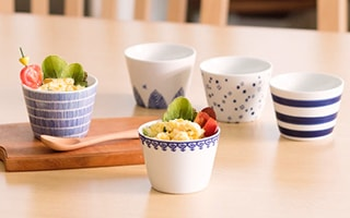 Soba choko cups with rounded form and Japanese traditional pattern