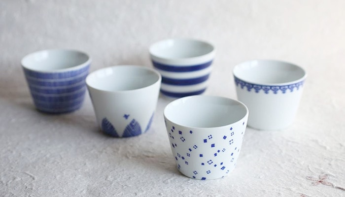 5 patterns of Inban soba choko cups of Azmaya