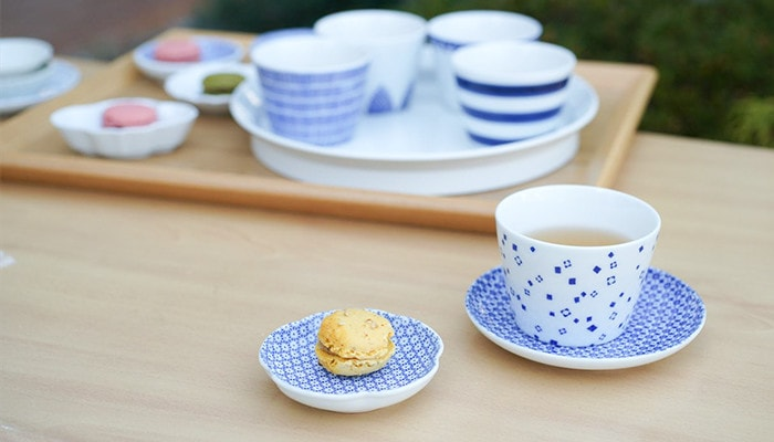 Soba choko cups as tea cups