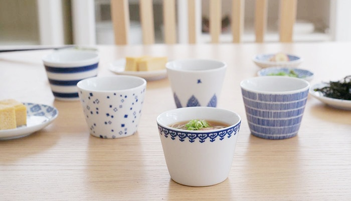 Soba choko cups on the dinner table