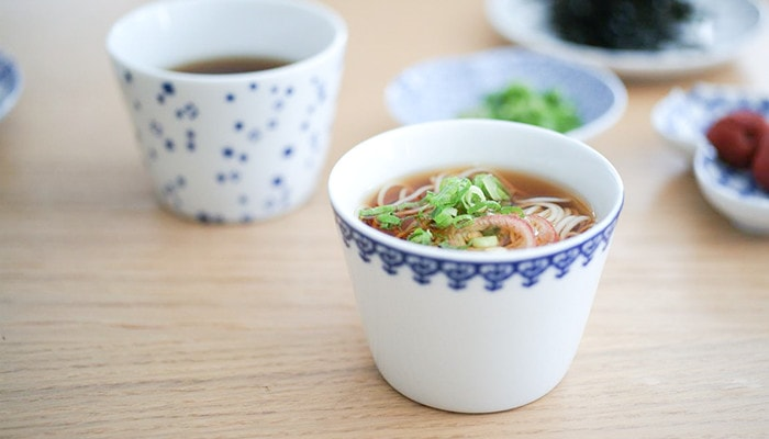 Soba choko cups as cups for dipping sauce for soba