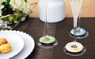Splendid party with kimono wine glass markers and coasters