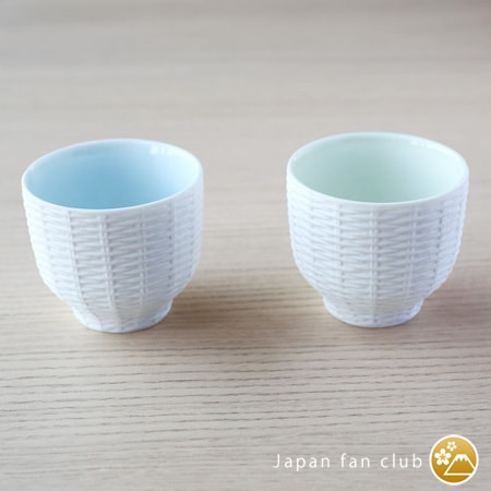 Different colors of Trace Face tea cups