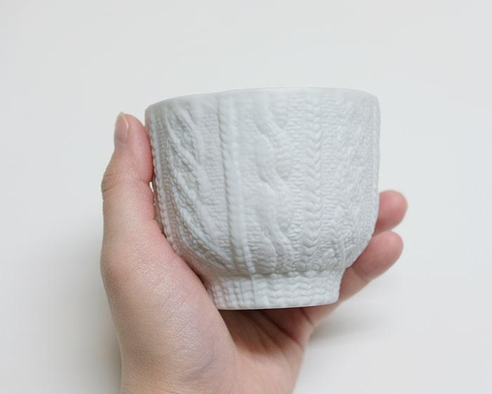 編み目の部分が薄くなっている例