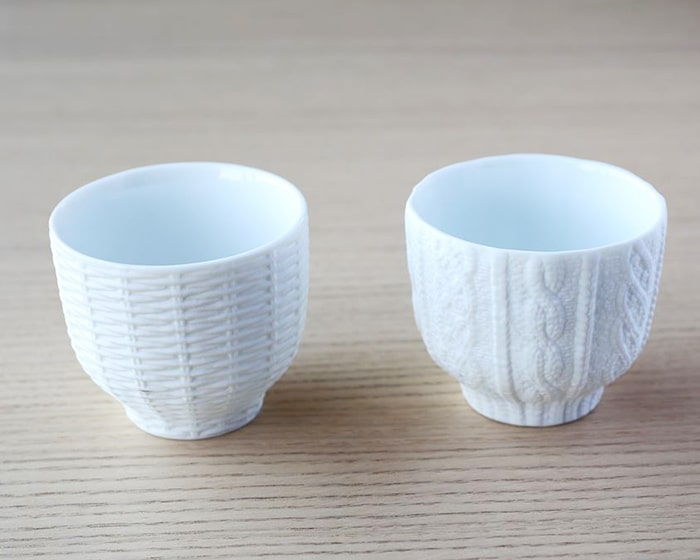 Rattan cup and Knit wear cup of Trace Face series