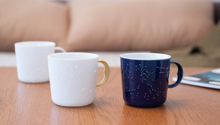 Constellation mugs of ceramic japan on the table