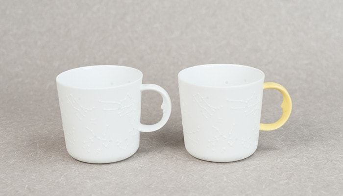 White and yellow mugs of the unique coffee mugs of ceramic japan