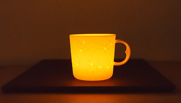 Constellation mug as a candle holder