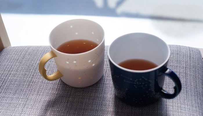 Tea in the unique coffee mugs of ceramic japan