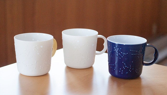 3 constellation mugs on the table