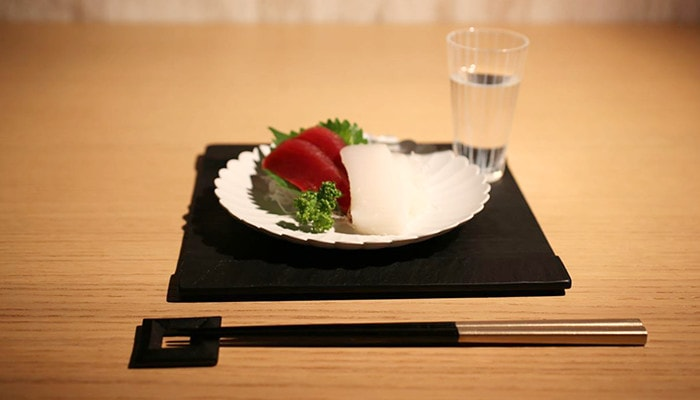 Japanese stylish dinner with modern chopstick rest