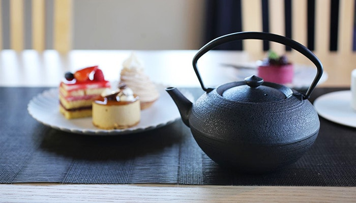 Yamagata casting teapot also matches pastry