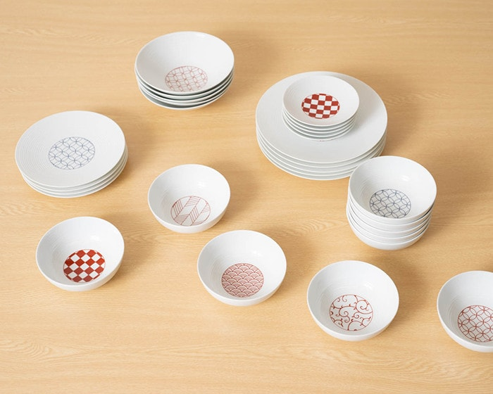 Japanese dishware of Eiho porcelain on the table