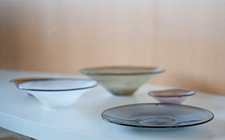 "Beautiful hand blown glass dishes ""kasumi"""
