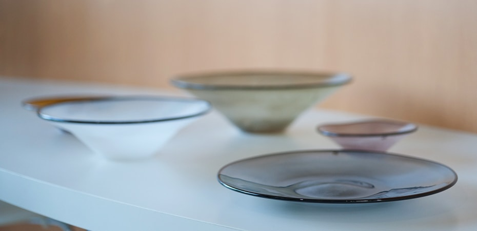 Hand blown glass dishes kasumi