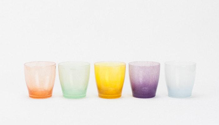 5色のfrescoのsolitoのガラスのコップ
