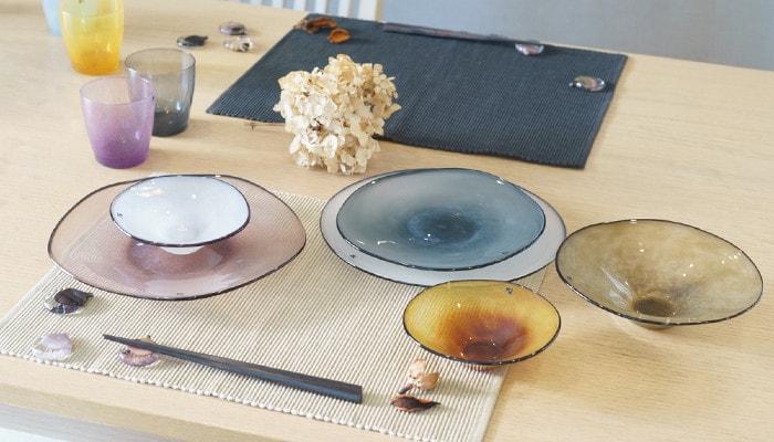 frescoのガラスの器を使ったテーブルコーディネイト