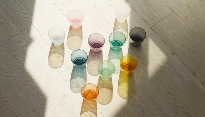 Colored glassware solito throws colorful shade