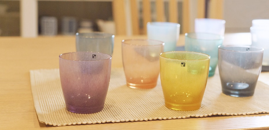 Colored glassware solito of fresco