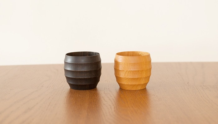 Pair of WAQWA CUP L wooden cups of Gato Mikio