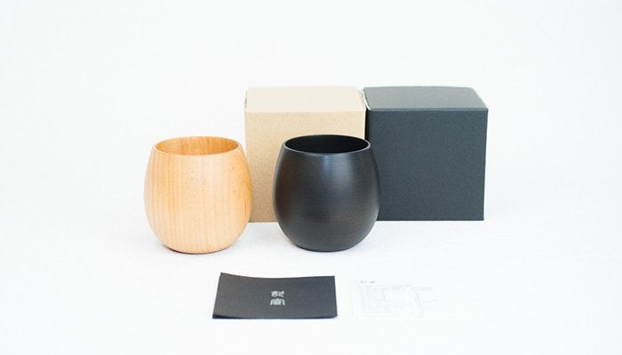 Pair of SAKURA egg wooden cups and their exclusive boxes and description