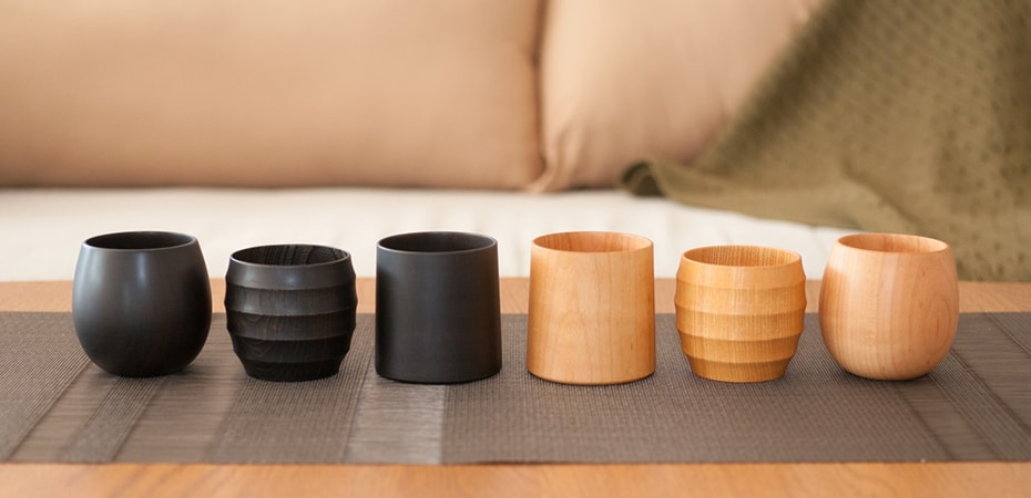 Wooden cups of Gato Mikio store