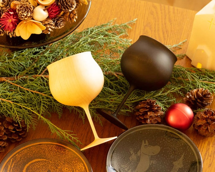 Wooden wine glasses and Christmas ornaments