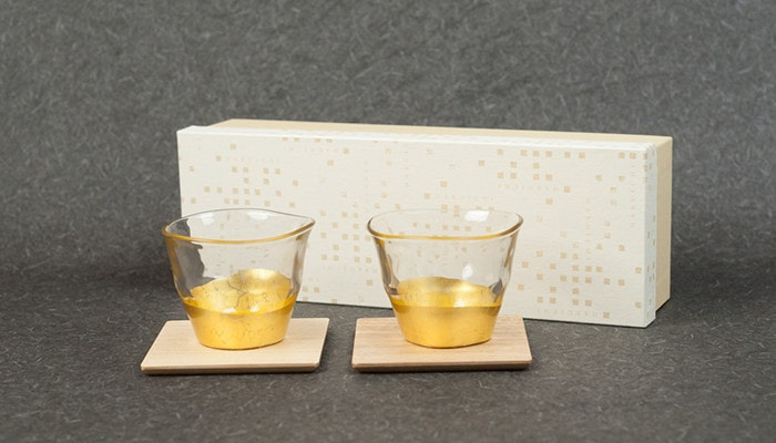 Pair set of gold leaf tea glasses and coasters with its exclusive box