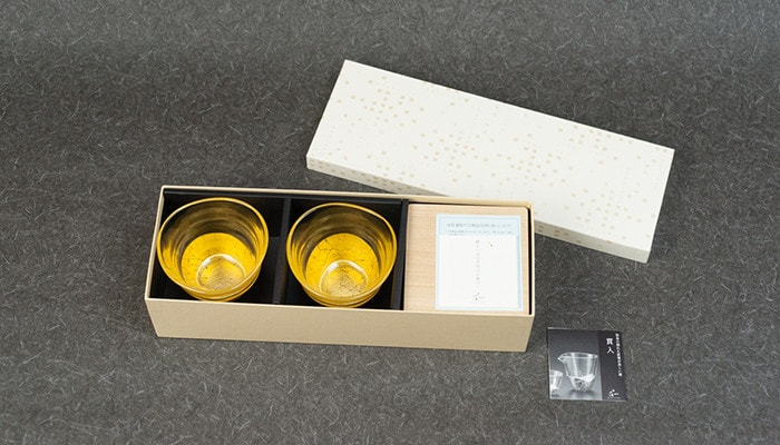 Pair set of gold leaf tea glasses and coasters in the exclusive box