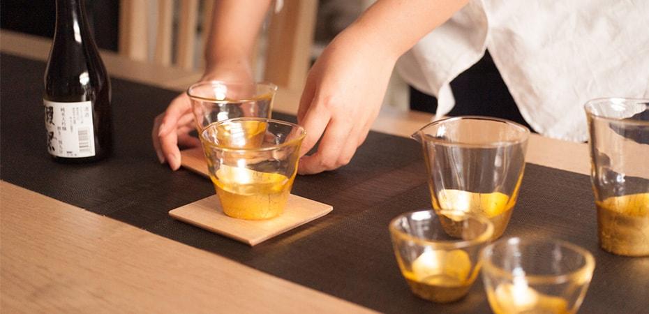 Elegant gold leaf glasses of Kanazawa-haku