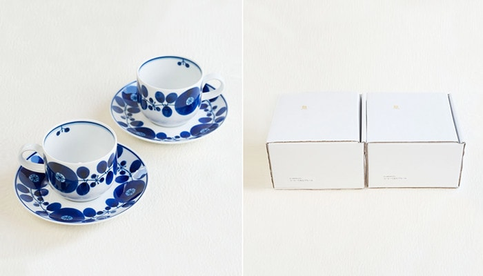 Coffee cup & saucer of Bloom series from Hakusan Toki and their kraft boxes