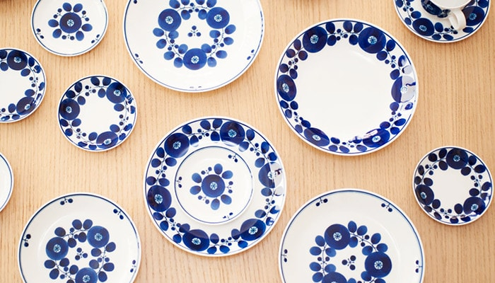 Various plates of Bloom series on the table