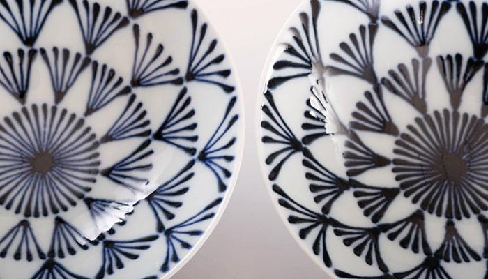 平茶碗に描かれた柄の線の太さの比較