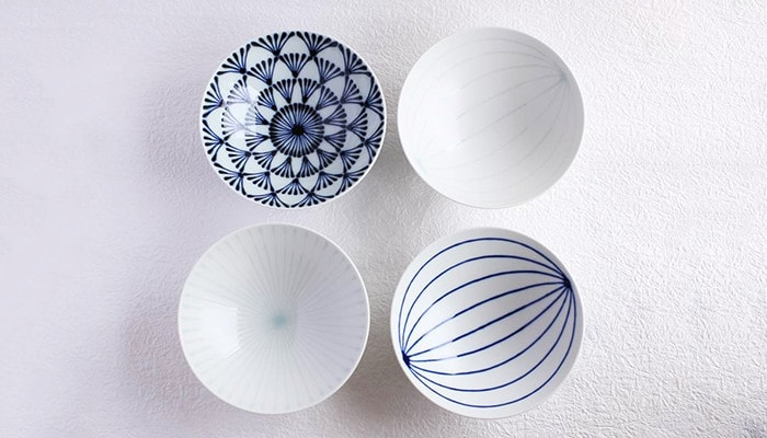 4 modern Japanese bowls of Hakusan Toki